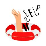 Lifebuoy and hand to call for help. Lifebuoy and help, emergency and rescue. Vector illustration vector illustration