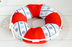 Lifebuoy handmade pillow with copyspace Royalty Free Stock Photos