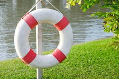 Lifebuoy is hanging on the steel, rescue equipment for lake. royalty free stock images
