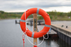 Lifebuoy on the harbor Royalty Free Stock Photography