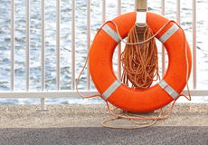 Lifebuoy at a Harbour. Photo of Lifebuoy at a Harbour stock photography