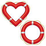 Lifebuoy heart. Two red lifebuoys, one in the shape of a ring and the other a heart preserver Royalty Free Stock Image