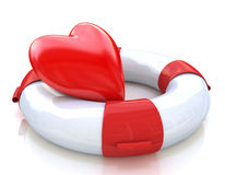 Lifebuoy and heart Royalty Free Stock Images