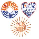 Lifebuoy,heart,sun in words I love summer Stock Photography