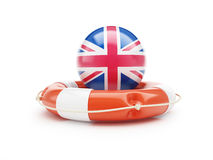 Lifebuoy Help Flag of England on a white background Stock Images