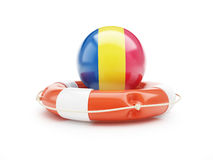 Lifebuoy Help Flag of Romania on a white background Stock Photo
