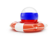 Lifebuoy Help Flag of Russia on a white background Stock Photo