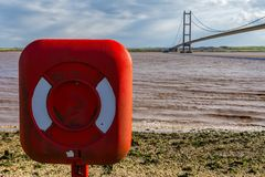Lifebuoy at Humber Bridge, UK royalty free stock photos