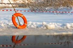 Lifebuoy on the ice. Stock Photography
