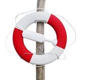 Lifebuoy isolou-se no fundo branco Fotografia de Stock
