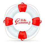 Lifebuoy and lettering Hello Summer on white background Stock Photo