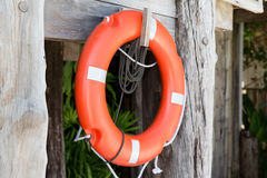 Lifebuoy or life preserver hanging on rescue booth Royalty Free Stock Photos
