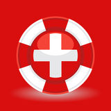 Lifebuoy / life preserver with medical cross icon concept on red background. Stock Photography
