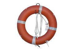 Lifebuoy Or Life Preserver With Rope On White Backgroun Royalty Free Stock Photos