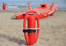 Lifebuoy and lifeguard rescue boat Royalty Free Stock Images
