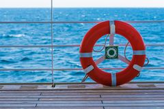 Lifebuoy Lifering on a Boat Stock Image