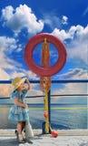 lifebuoy linia horyzontu Zdjęcia Royalty Free