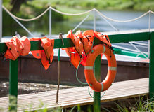 Lifebuoy at the mooring Stock Image