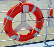 Lifebuoy on the motor ship Stock Photos