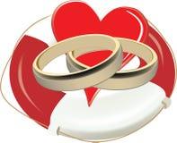 Lifebuoy nad z pierścionkami i sercem Zdjęcie Stock