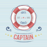 Lifebuoy nautical and marine sailing themed label vector. Stock Image