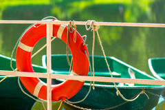 Lifebuoy near the lake Stock Image