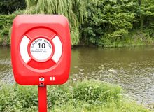 Lifebuoy near river Stock Image