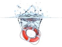 Lifebuoy no respingo da água foto de stock royalty free