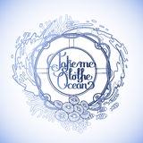 Lifebuoy with ocean design. Lifebuoy with corals and ocean fish drawn in line art style.  Vector marine illustration  on white background. Coloring book page Royalty Free Stock Photo