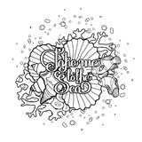 Lifebuoy with ocean design. Lifebuoy with corals and ocean fish drawn in line art style.  Vector marine illustration  on white background. Coloring book page Royalty Free Stock Photography