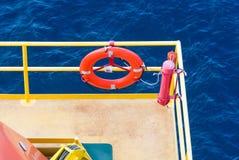 Lifebuoy. On oil platform use when emergency Stock Image