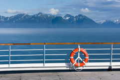 Lifebuoy on the open deck ship in Alaska Royalty Free Stock Photo