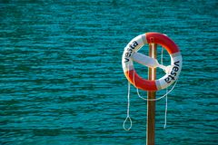 Lifebuoy on Oppstrynsvatn lake in the municipality of Stryn in Sogn og Fjordane county, Norway stock photo
