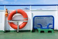 Safety Lifebuoy on ferry. Lifebuoy on a passenger ferry Stock Photos