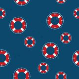 Lifebuoy. Pattern on navy background, travel concept Royalty Free Stock Images