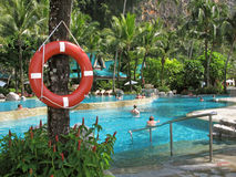 Lifebuoy. People. Hotel. Outdoor pool in tropics. Royalty Free Stock Image