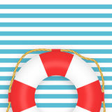 Lifebuoy photo-realistic vector illustration on striped background. Symbol of help, rescue. Marine background Stock Images