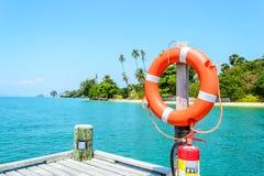 Lifebuoy on the pier Royalty Free Stock Photo