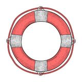 Lifebuoy. Red white lifesaving device. Hand drawn colored sketch. Vector illustration isolated on white background royalty free illustration