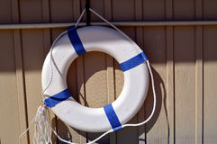 Lifebuoy with reflective tape Royalty Free Stock Images