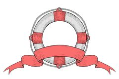 Lifebuoy with ribbon baner. Hand drawn colored sketch. Vector illustration isolated on white background vector illustration