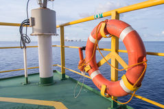 Lifebuoy in rig platform Stock Image