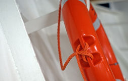 Lifebuoy ring. Safety buoy orange - lateral view royalty free stock image