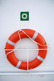 Lifebuoy ring. Red lifebuoy on the side of the boat Royalty Free Stock Image