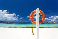 Lifebuoy ring on beach Royalty Free Stock Images