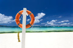 Lifebuoy ring on beach Stock Photos