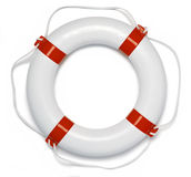 Lifebuoy Ring Buoy Preserver. A white and red lifebuoy ring isolated on a white background Stock Photos