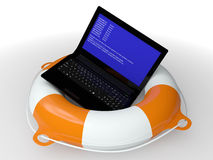 Lifebuoy ring and faulty computer Stock Photos
