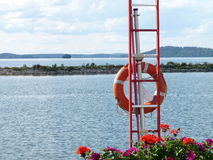 Lifebuoy ring. Near the lake Royalty Free Stock Photography