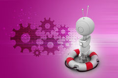 Lifebuoy with robot. In color background Royalty Free Stock Photography